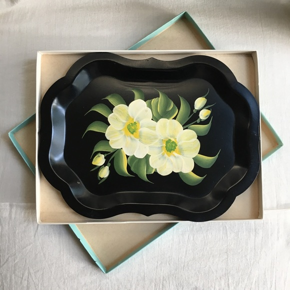 Painted Floral Tray